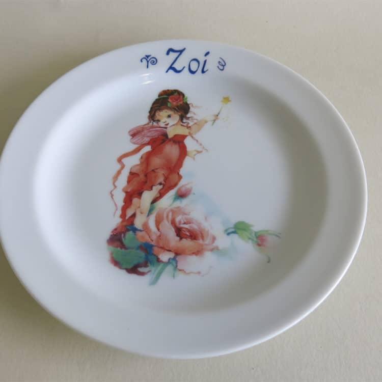 Kindergeschirr Porzellan Abendbrotteller 19 cm mit Namen und Elfe Rosalie Rose