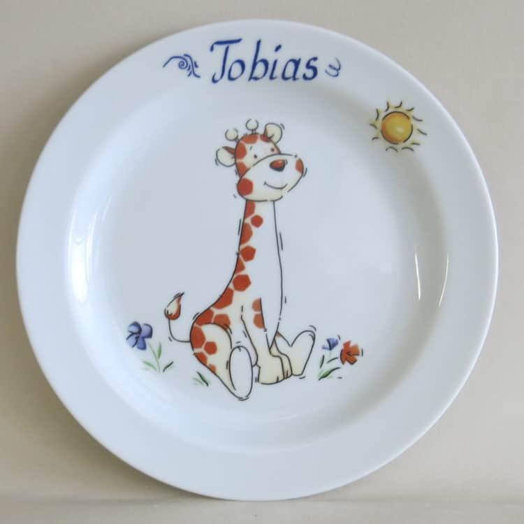 Brotzeitteller Giraffenbaby mit Namen personalisiert