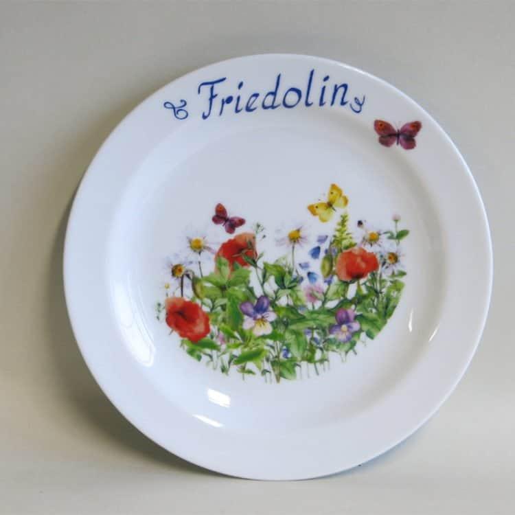 Kindergeschirr Porzellan Teller 19 cm Wiese