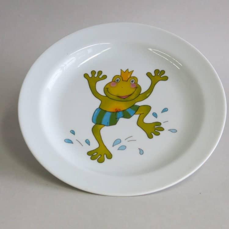 Kindergeschirr Porzellan Teller 19 cm mit Froschkönig