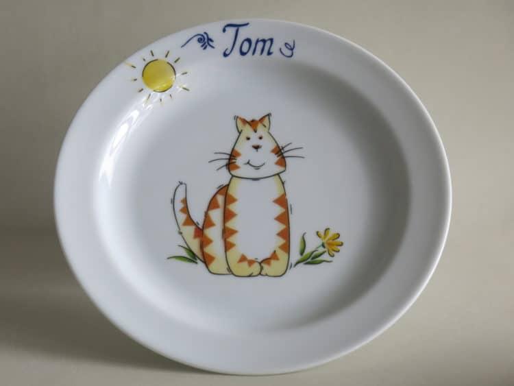 Brotteller 19 cm mit Namen und Tigerkatze