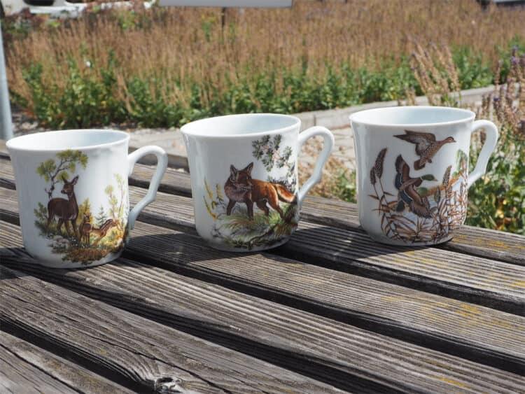 Porzellan Becher Anna 260 ml mit den Jagdmotiven Hase, Fuchs und Wildenten