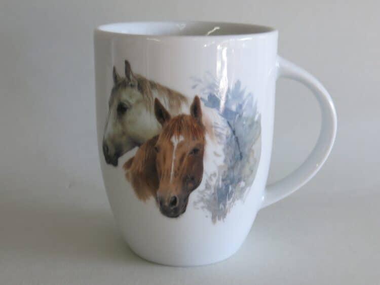 Frühstücksgeschirr Porzellan rundlicher Becher 260ml mit Pferdeköpfen braun weiß