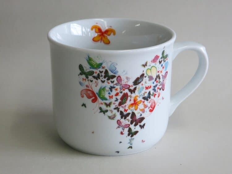 Frühstücksgeschirr feuerfester Porzellan Becher Hotpot 650 ml, Schmetterlingsherz