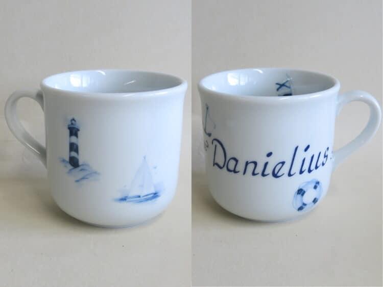 Kindergeschirr Porzellan kleiner Becher 230ml mit maritimen Motiven und Namen