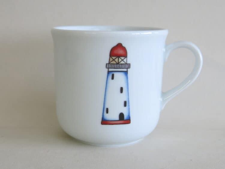 Kindergeschirr Porzellan kleiner Becher 230ml mit Leuchtturm rot
