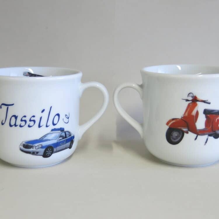 Kindergeschirr Porzellan kleiner Becher 230ml mit vielen Autos realistisch und Namen