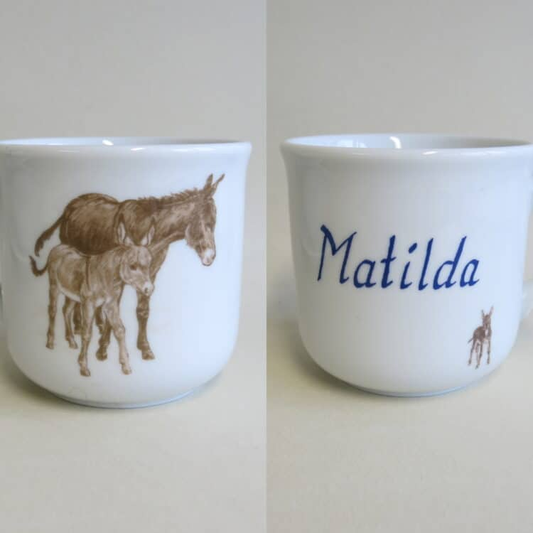 Kindergeschirr Porzellan kleiner Becher 230ml mit Esel und Namen