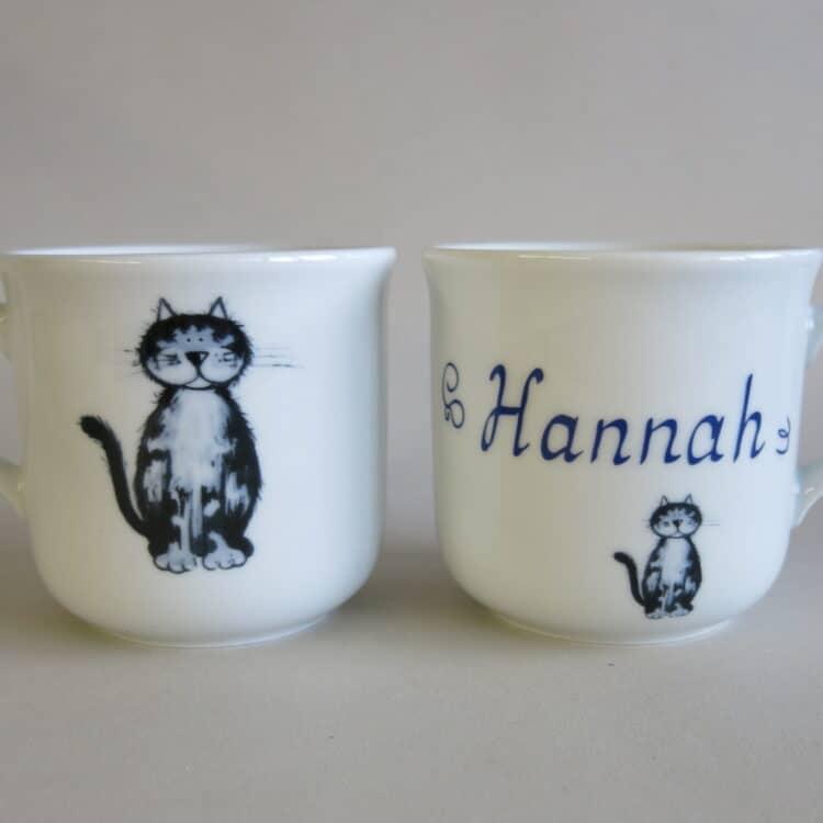 Kindergeschirr Porzellan kleiner Becher 230ml mit Katze Lilli und Namen