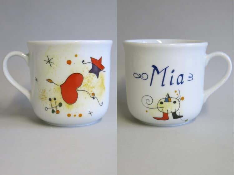 Kindergeschirr Porzellan kleiner Becher 230ml mit Miro Herz und Namen