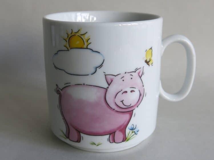 Frühstücksgeschirr Porzellan gerader Becher 260ml mit Schweinchen Sonne