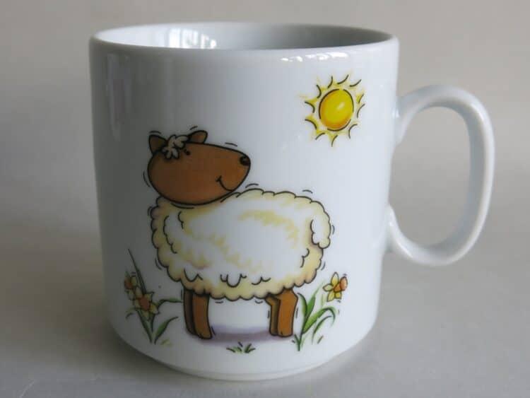 Frühstücksgeschirr Porzellan gerader Becher 260ml mit Schaf Sonne