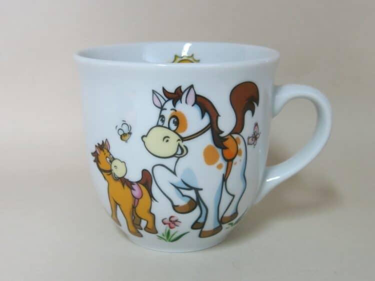 Frühstücksgeschirr Porzellan großer Becher 400ml mit Pferd und Pony