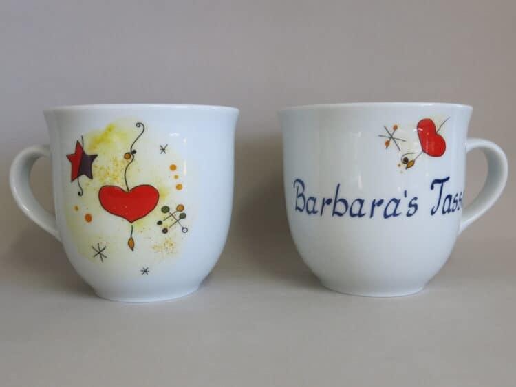 Frühstücksgeschirr Porzellan großer Becher 400ml mit Miro Herz und Namen