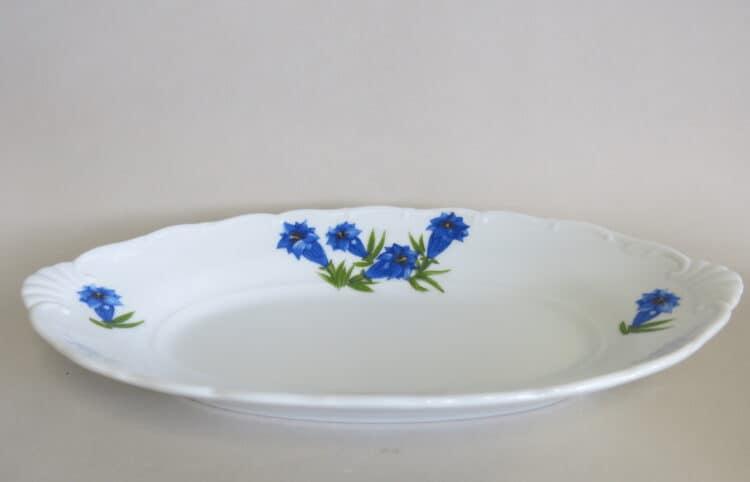 Beilagenschale Ofelie aus weißem Porzellan mitmit blauemEnzian