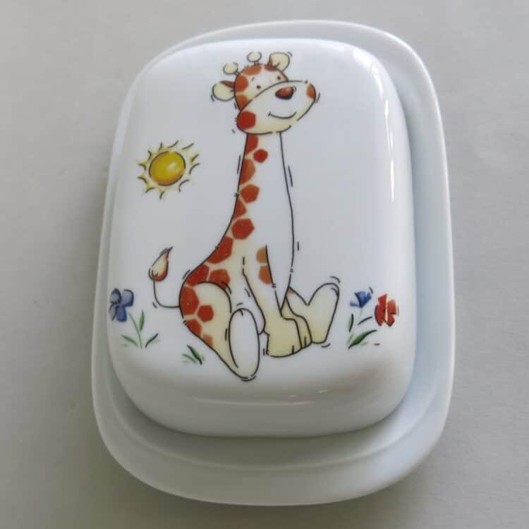 Frühstücksgeschirr Porzellan glatte Butterdose 250g mit Babygiraffe