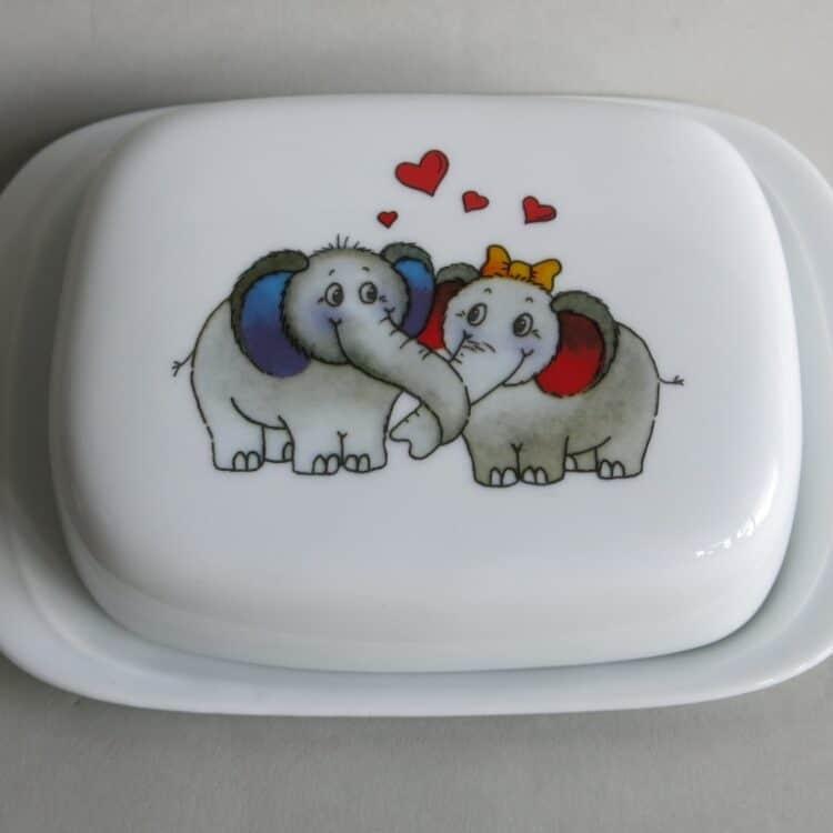 Frühstücksgeschirr Porzellan glatte Butterdose 250g mit Elefantenpaar
