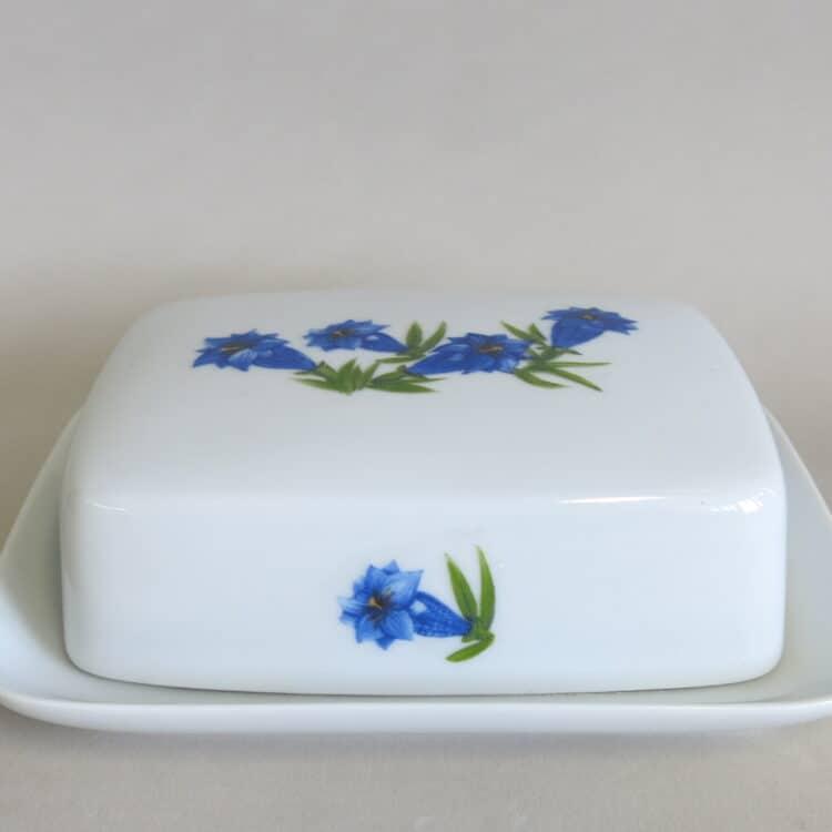 Große Porzellanbutter Butterdose Kristof für 250 gr Butter mit blauem Enzian