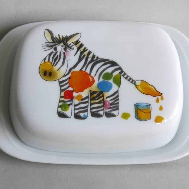 Frühstücksgeschirr Porzellan glatte Butterdose 250g mit Zebra