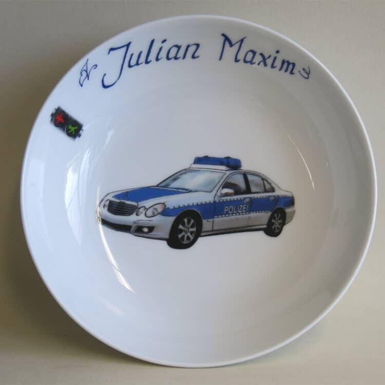 Kindergeschirr Porzellan tiefe Schale 18cm mit Polizeiauto und Namen