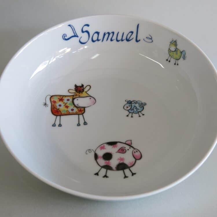 Kindergeschirr Porzellan tiefe Schale 18cm mit Farm kunterbunt alle Farben und Namen