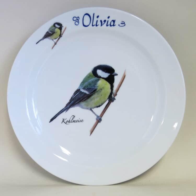 Essgeschirr Porzellan flacher Teller 24cm mit Kohlmeise und Namen