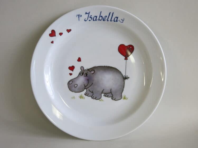 Großer Teller 24 cm mit Nilpferd mit Herzen und Namen personalisiert
