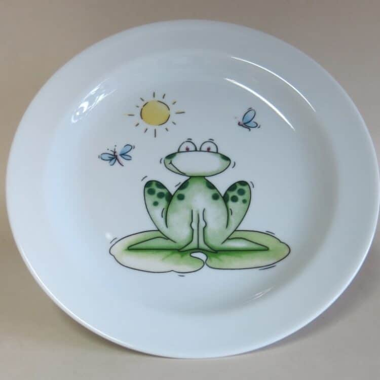 Kindergeschirr Porzellan flacher Teller 19cm mit Frosch