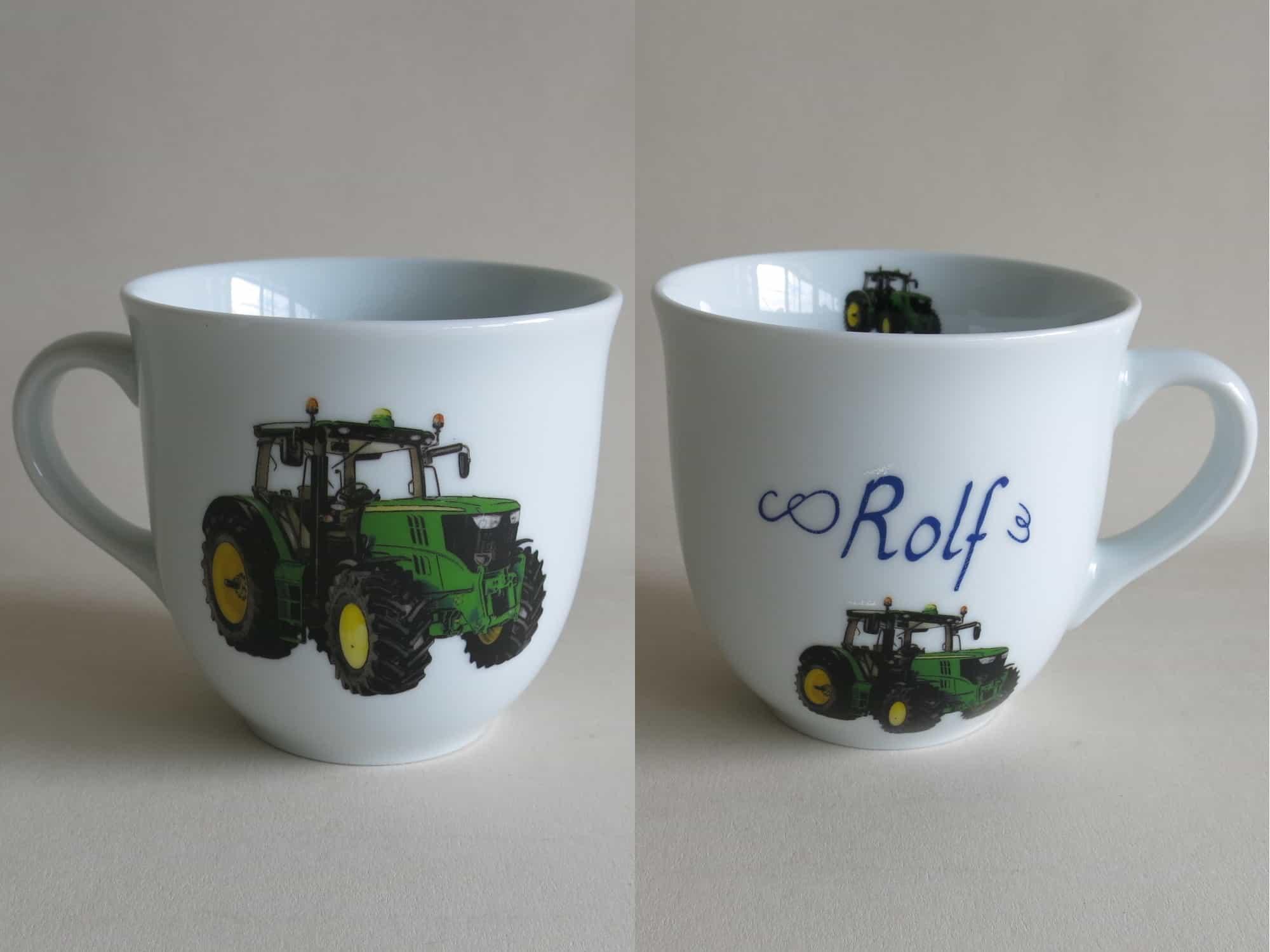 Frühstücksgeschirr Porzellan großer Becher 400ml mit grünem Traktor und Namen