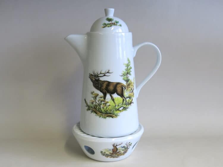 Kaffeekanne Opty und Universalstövchen röhrender Hirsch