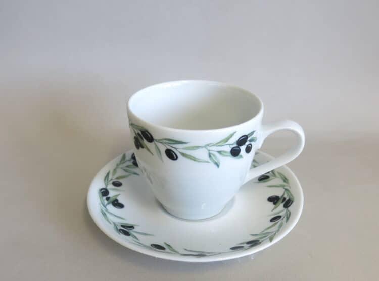 Porzellan Kaffeetasse Ole mit Unterteller, beides mit Olivenrand