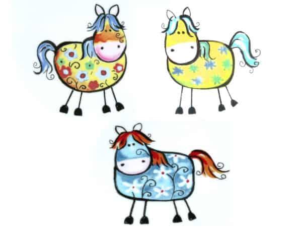 Kindergartenmotiv 3 kunterbunte Pferdchen jpg