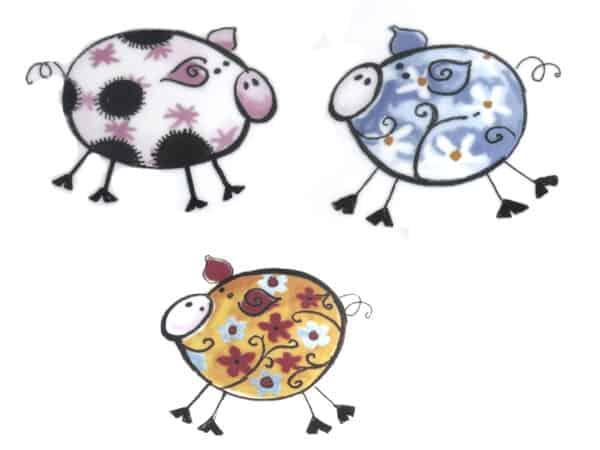 Kindergartenmotiv 3 kunterbunte Schweinchen
