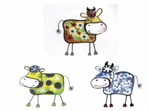 Kindergartenporzellan Motiv drei kunterbunte Kühe