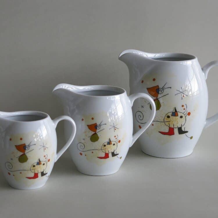 Krüge und Milchgiesser Olympia mit Motiv Vogel nach Miro