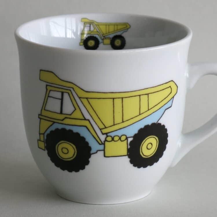 Frühstücksgeschirr Porzellan großer Becher 400ml mit gelben LKW