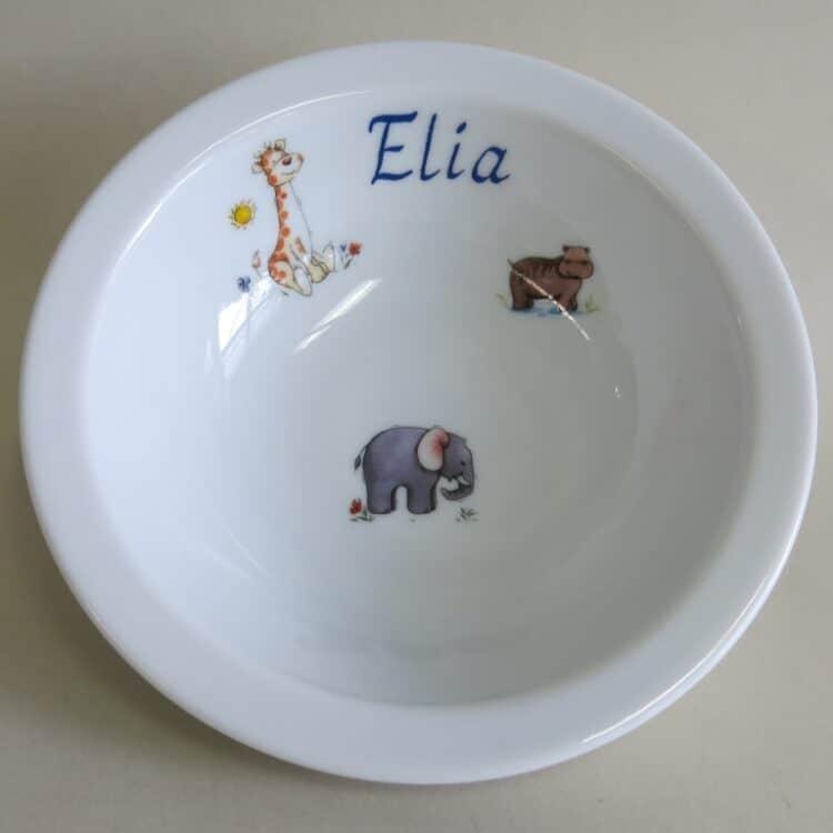 Kindergeschirr Porzellan Müslischüssel 16cm mit afrikanischen Tieren und Namen