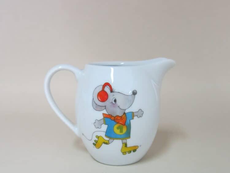 Milchgießer aus weißem Porzellan für Kindergärten mit Maus