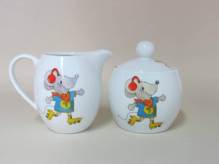 Milchgießer und Zuckerdose Olympia mit Maus für Kindergärten