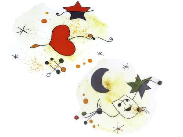 Zweier Kombination Porzellandekore Motiv nach Miro Maske, Herz