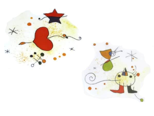 Zweier Kombination Porzellandekore Motiv nach Miro Vogel, Herz