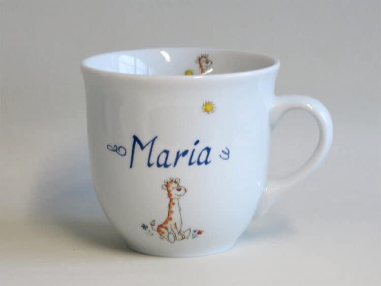 Frühstücksgeschirr Porzellan großer Becher 400ml mit Babygiraffe und Namen