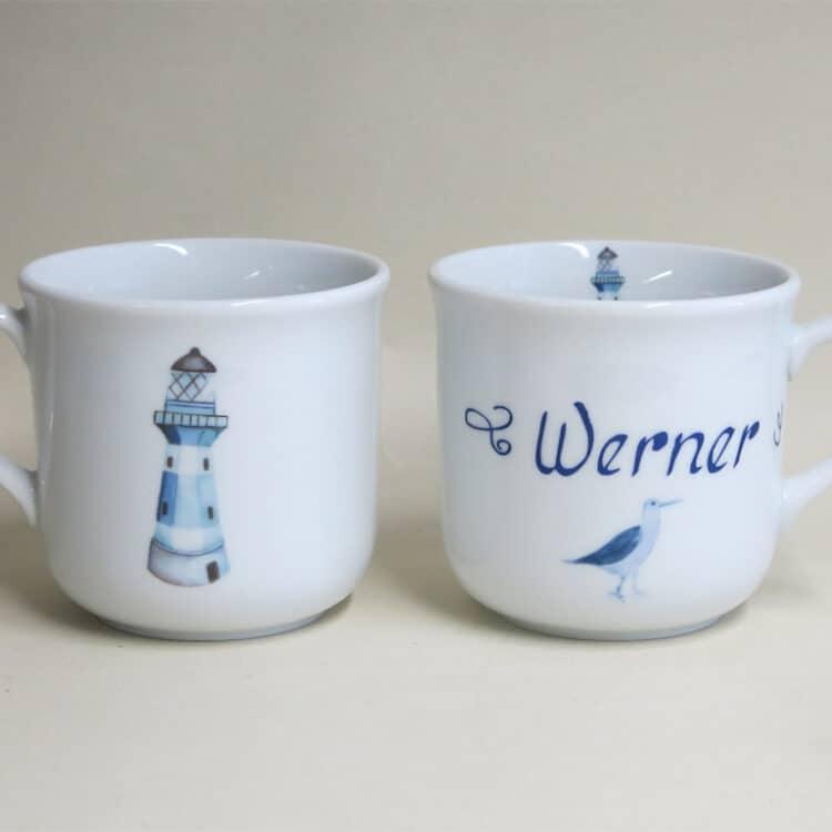Kindergeschirr Porzellan kleiner Becher 230ml mit blauem Leuchtturm und Namen