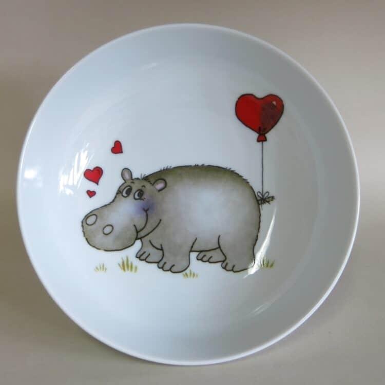 Kindergeschirr Porzellan tiefe Schale 18cm mit Nilpferd Herz