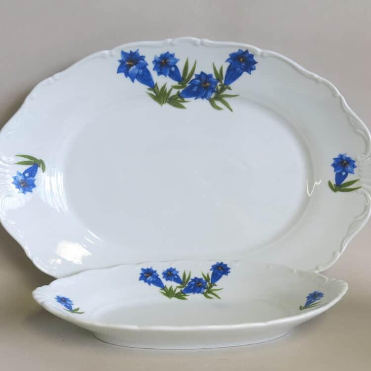 Porzellan Platte und Beilagenschale Ofelie mit blauem Enzian