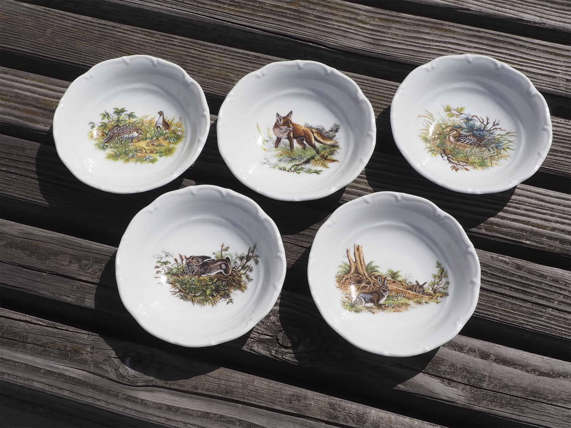 Porzellan Schüsseln Ofelie klein mit Jagdmotiven