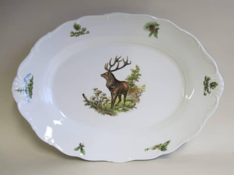 Porzellanplatte Ofelie 35 cm mit Jagdmotiv Hirsch