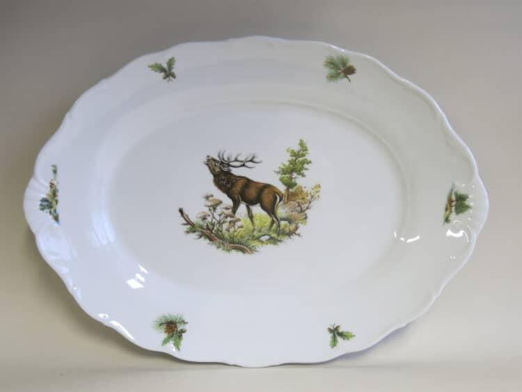 Porzellanplatte Ofelie 35 cm mit Jagdmotiv röhrender Hirsch
