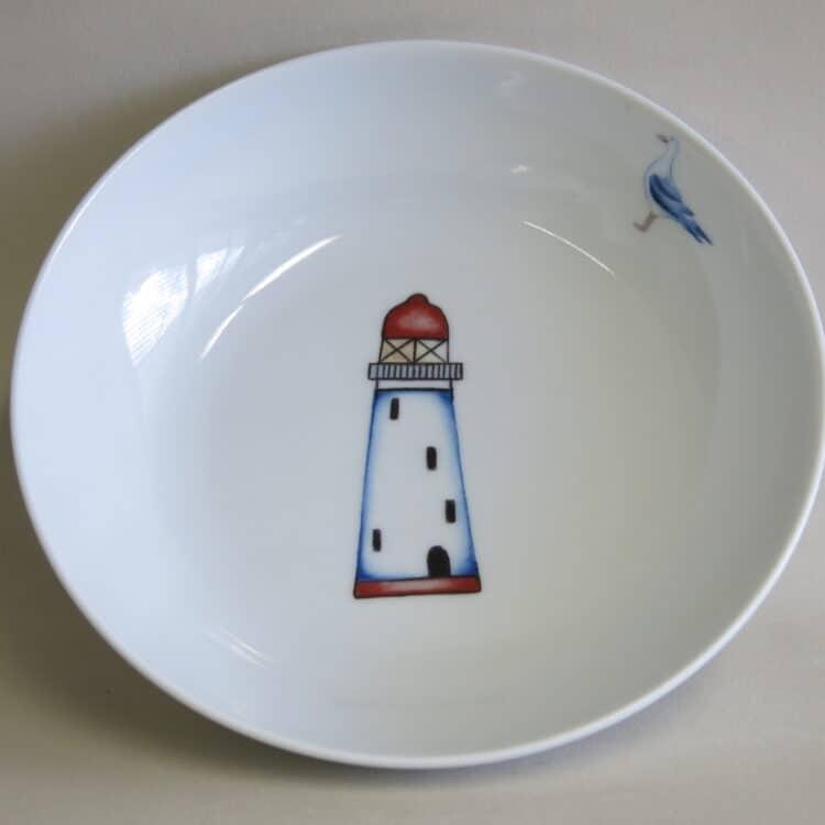 Kindergeschirr Porzellan tiefe Schale 18cm mit Leuchtturm rot