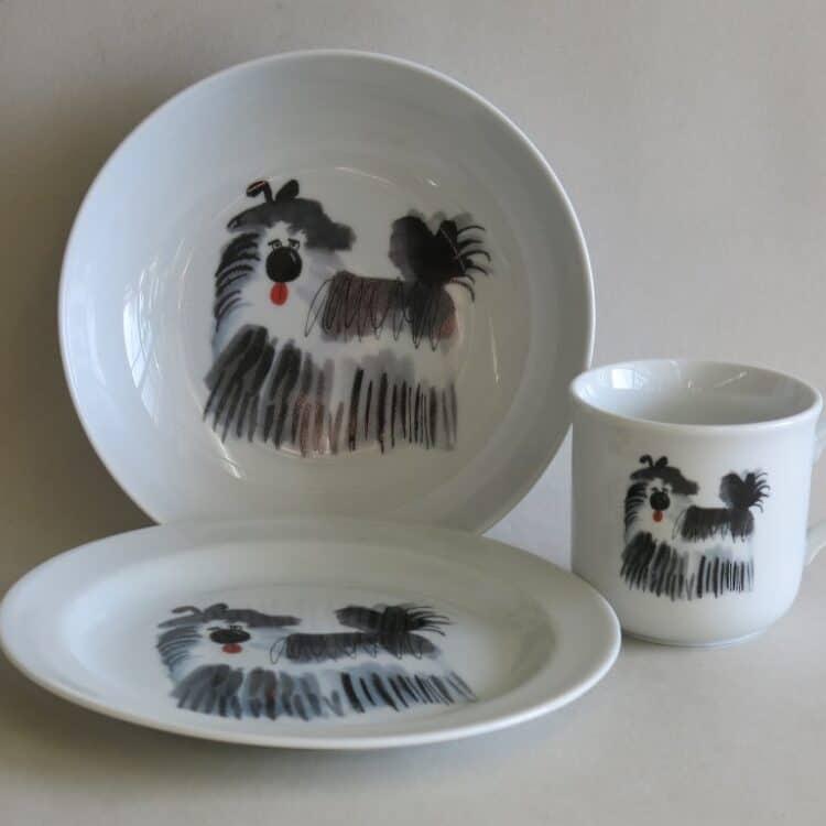 Kindergeschirr Porzellan, kleiner Becher 230ml, tiefe Schale 18cm und flacher Teller 19cm mit Terrier Minou
